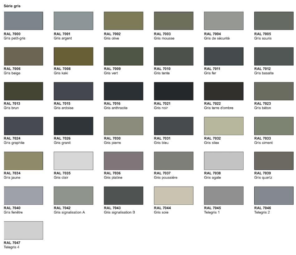 nuancier série gris