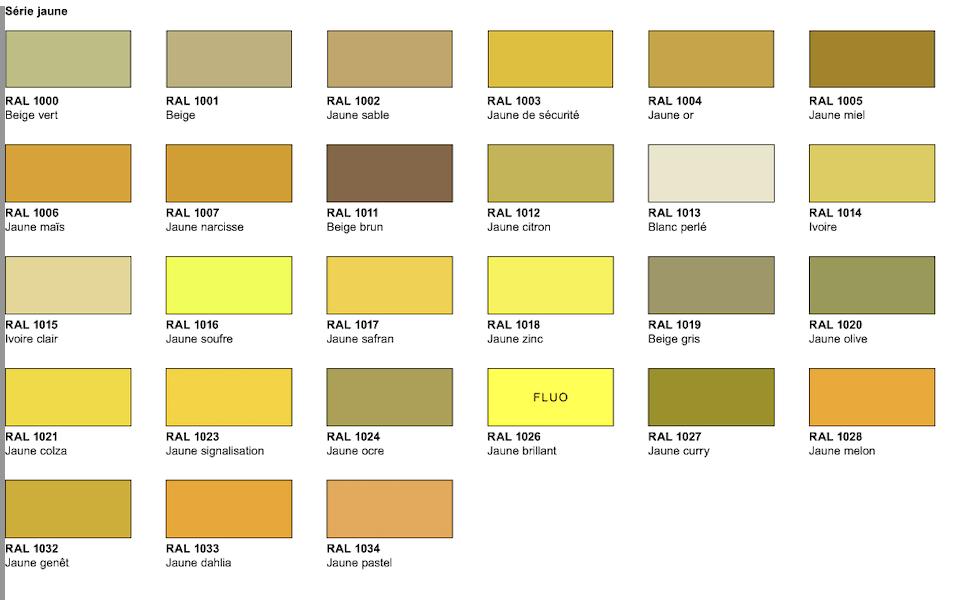 nuancier série jaune