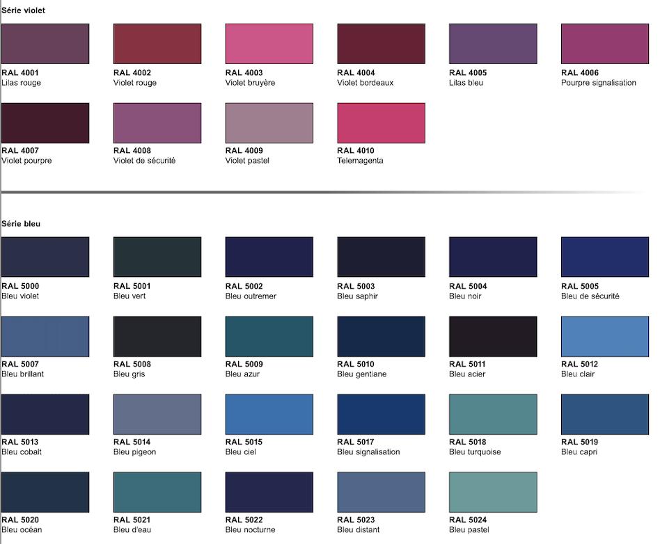 nuancier série rose et violet