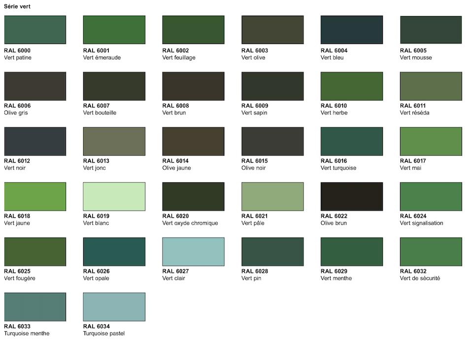 nuancier série vert